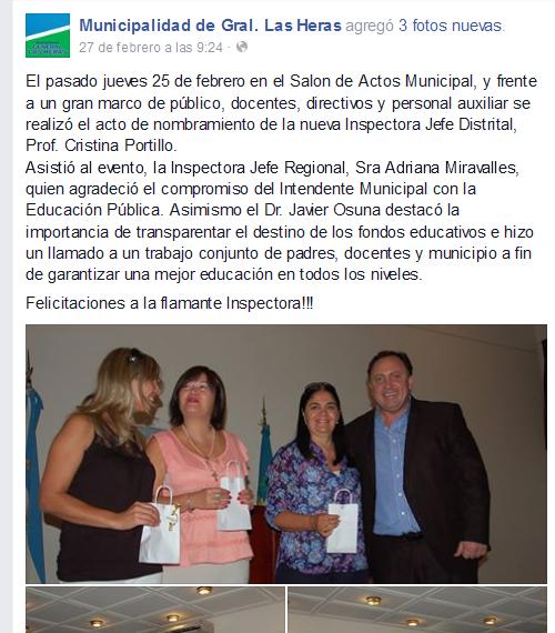 El pasado jueves 25 de febrero en el... - Municipalidad de Gral. Las Heras