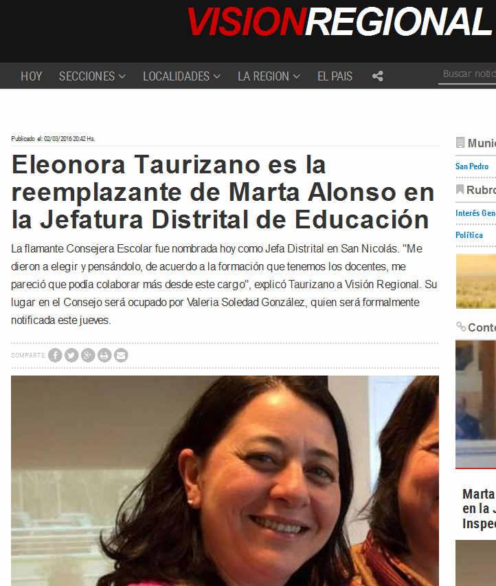 Eleonora Taurizano es la reemplazante de Marta Alonso en la Jefatura Distrital de Educación