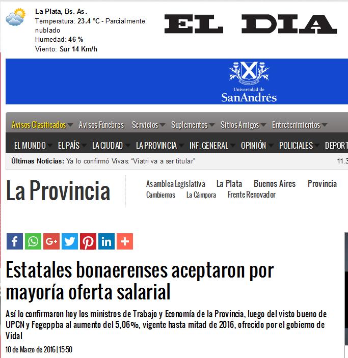 Estatales bonaerenses aceptaron por mayoría oferta salarial La Provincia