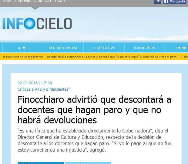 Finocchiaro advirtió que descontará a docentes que hagan paro y que no habrá devoluciones - Infocielo - Toda la Provincia, un solo lugar.