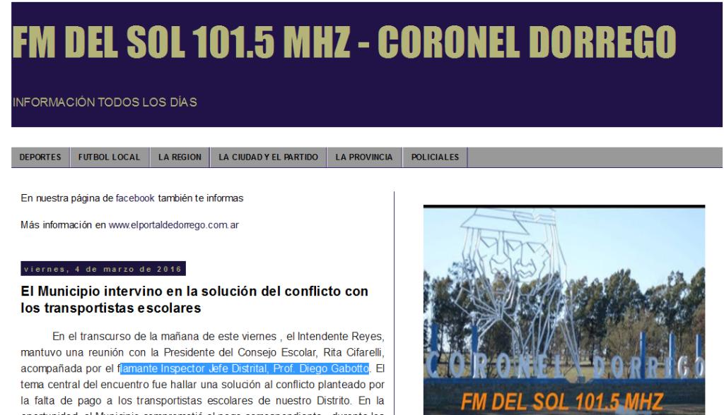FM DEL SOL 101.5 MHZ - CORONEL DORREGO El Municipio intervino en la solución del conflicto con los transportistas escolares