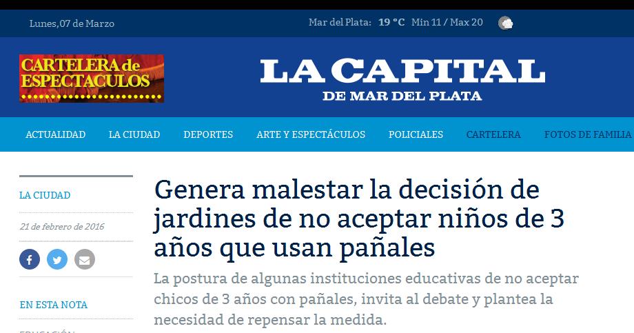 Genera malestar la decisión de jardines de no aceptar niños de 3 años que usan pañales « Diario La Capital de Mar del Plata