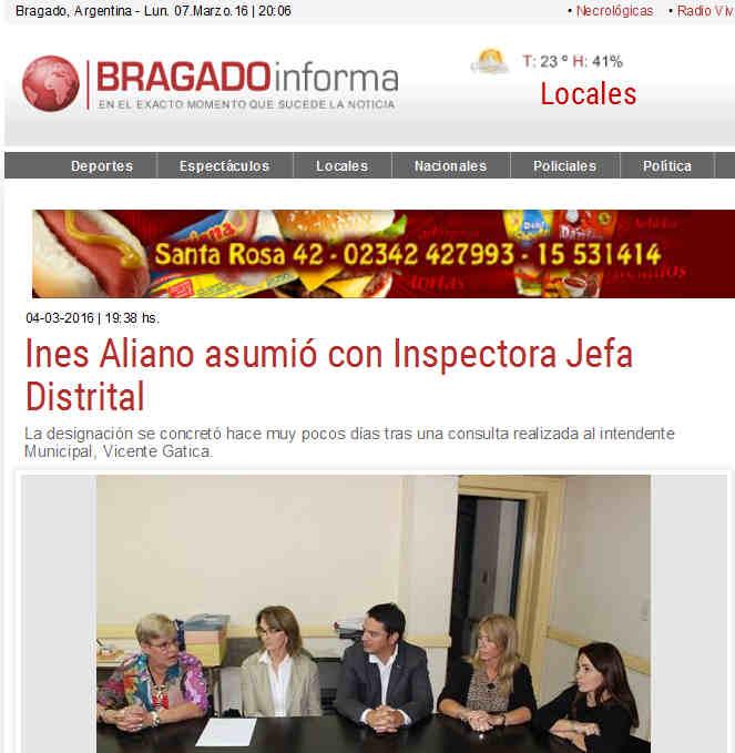 Ines Aliano asumió con Inspectora Jefa Distrital Bragado Informa - Edición digital