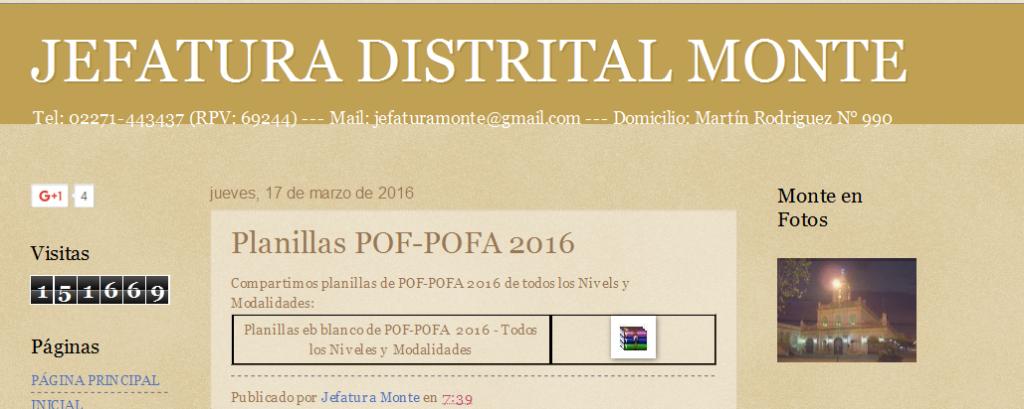 JEFATURA DISTRITAL MONTE Planillas POF-POFA 2016
