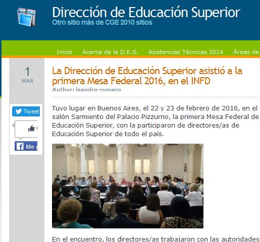 La Dirección de Educación Superior asistió a la primera Mesa Federal 2016, en el INFD