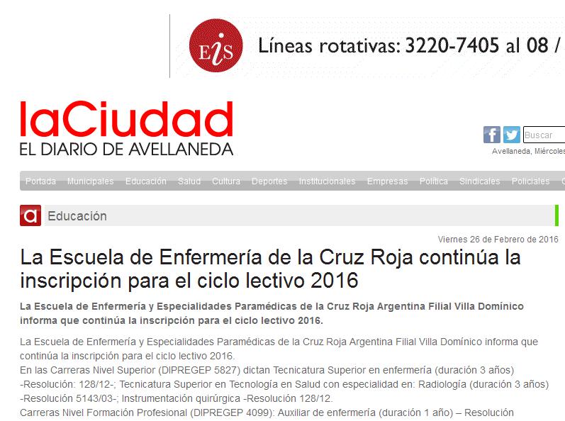 La Escuela de Enfermería de la Cruz Roja continúa la inscripción para el ciclo lectivo 2016 - La Ciudad Avellaneda