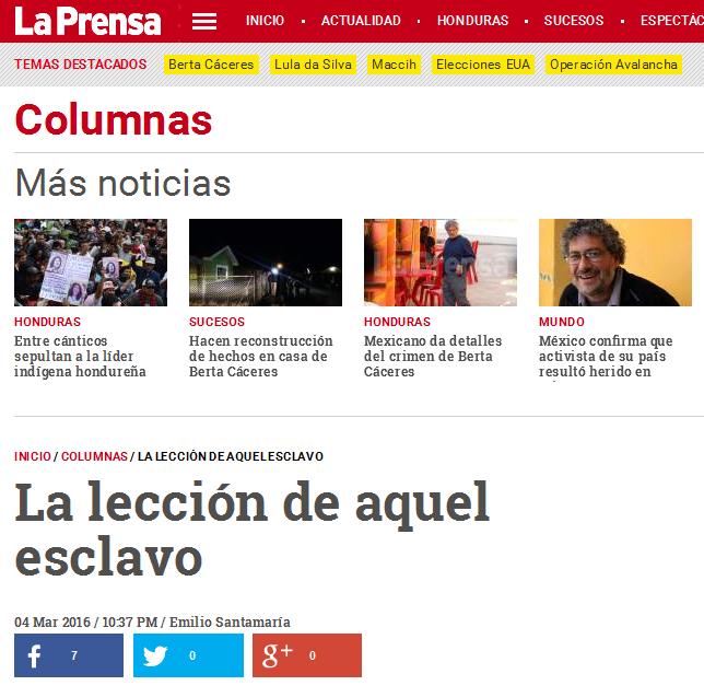 La lección de aquel esclavo - Diario La Prensa