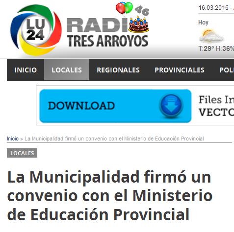 La Municipalidad firmó un convenio con el Ministerio de Educación Provincial - LU24 Radio Tres Arroyos – Todas las noticias de Tres Arroyos