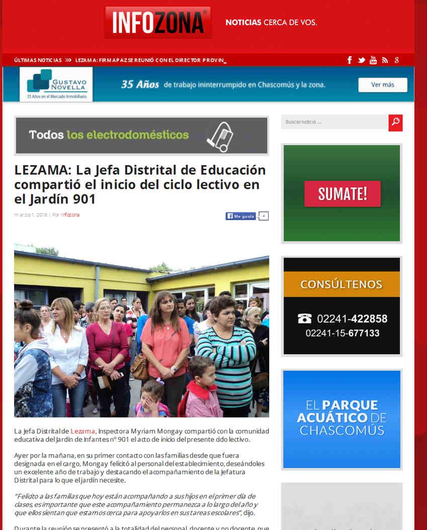 LEZAMA La Jefa Distrital de Educación compartió el inicio del ciclo lectivo en el Jardín 901 - INFOZONA