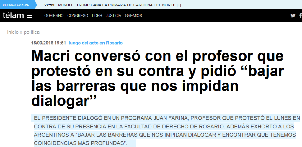 """Macri conversó con el profesor que protestó en su contra y pidió """"bajar las barreras que nos impidan dialogar"""" - Télam - Agencia Nacional de Noticias"""