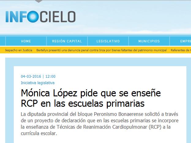 Mónica López pide que se enseñe RCP en las escuelas primarias - Infocielo - Toda la Provincia, un solo lugar.