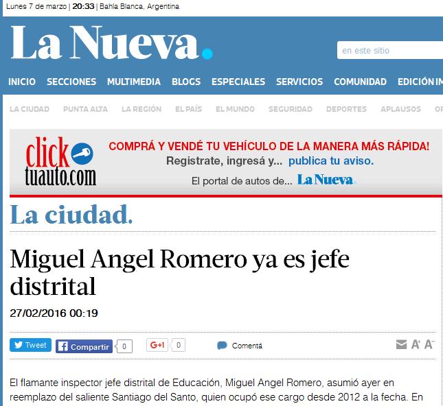 Miguel Angel Romero ya es jefe distrital
