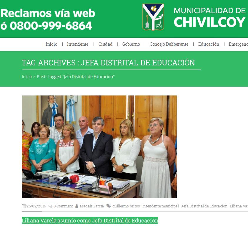 Municipalidad de Chivilcoy – Jefa Distrital de Educación