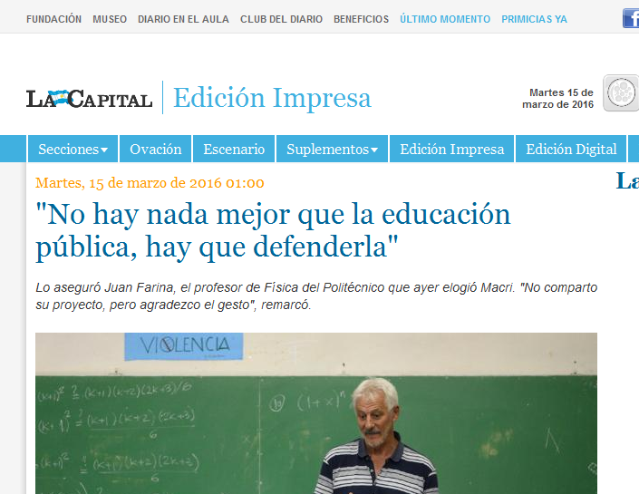 'No hay nada mejor que la educación pública, hay que defenderla' - La Ciudad - Edición Impresa - La Capital de Rosario -