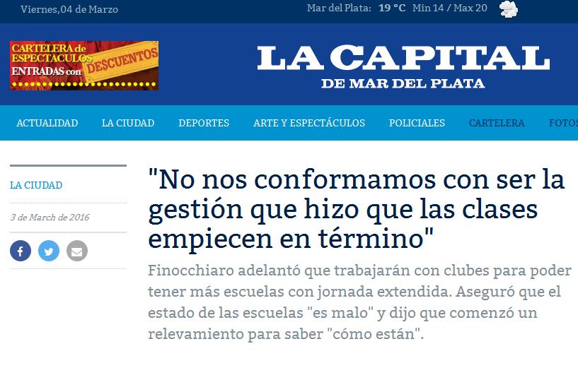 'No nos conformamos con ser la gestión que hizo que las clases empiecen en término' Diario La Capital de Mar del Plata