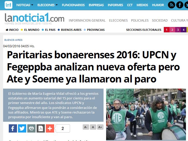 Paritarias bonaerenses 2016 UPCN y Fegeppba analizan nueva oferta pero Ate y Soeme ya llamaron al paro - LaNoticia1.com
