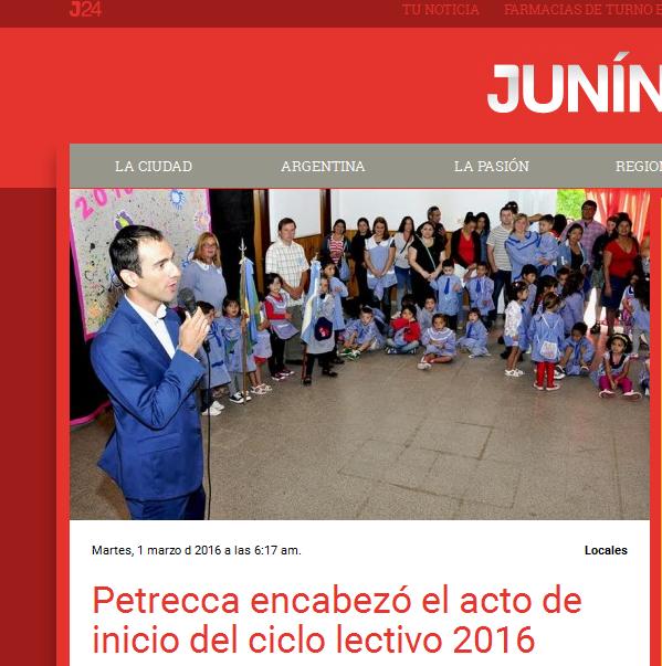 Petrecca encabezó el acto de inicio del ciclo lectivo 2016 - Junín 24 – Noticias de Junín
