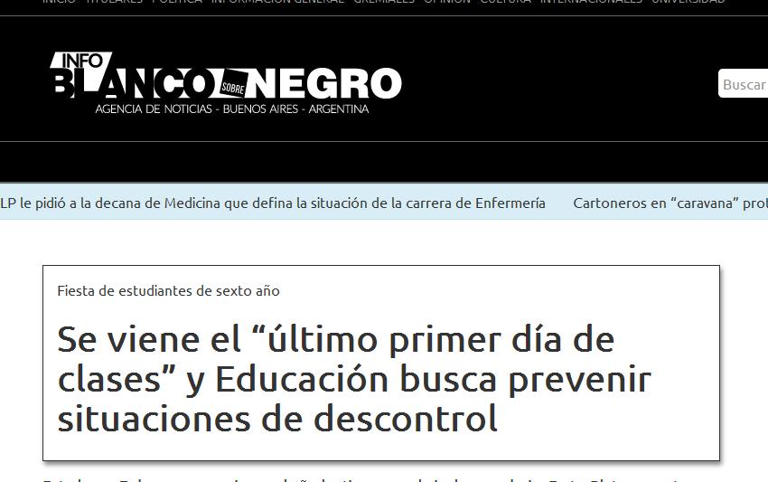 """Se viene el """"último primer día de clases"""" y Educación busca prevenir situaciones de descontrol Info Blanco sobre Negro"""