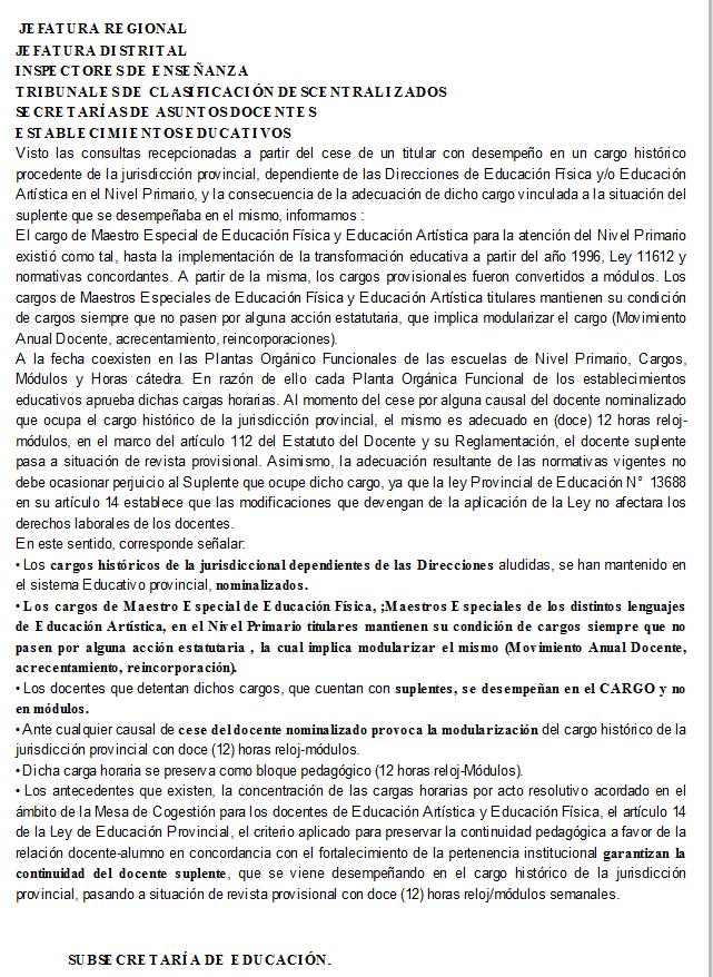 Secretaría de Asuntos Docentes 1. Distrito La Plata Comunicado N° 009 Cargos Históricos