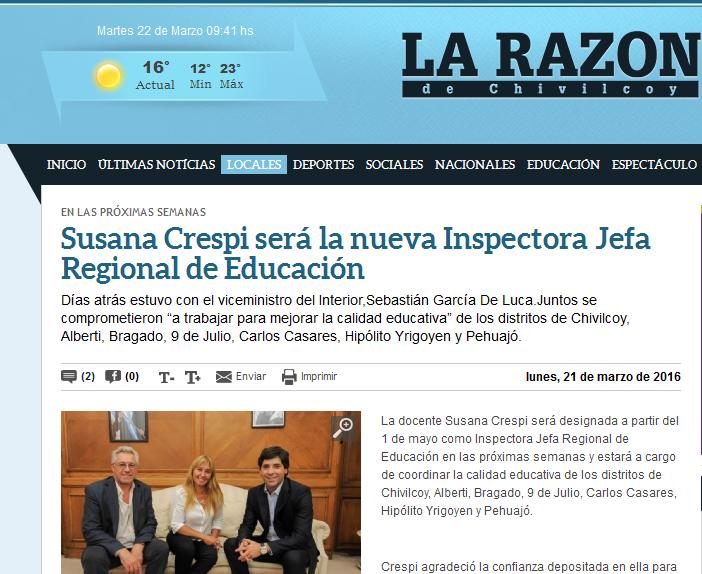 Susana Crespi será la nueva Inspectora Jefa Regional de Educación - La Razon de Chivilcoy