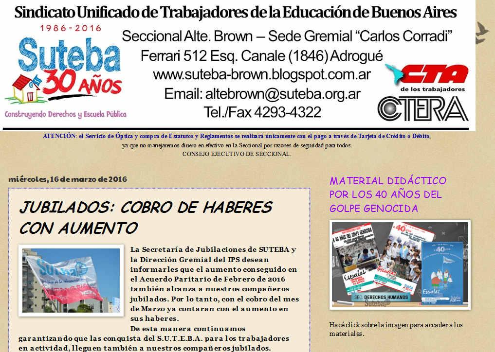 SUTEBA Alte. Brown JUBILADOS COBRO DE HABERES CON AUMENTO