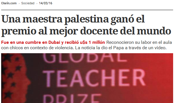 Una maestra palestina ganó el premio al mejor docente del mundo