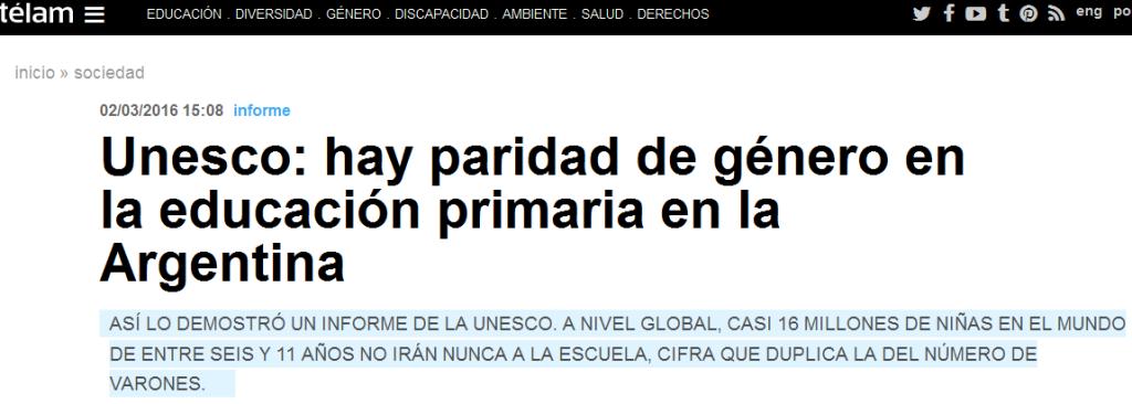 Unesco hay paridad de género en la educación primaria en la Argentina - Télam - Agencia Nacional de Noticias