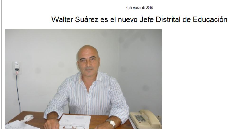 Walter Suárez es el nuevo Jefe Distrital de Educación