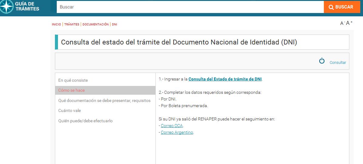 Consulta del estado del trámite del Documento Nacional de Identidad (DNI) - Guía de Trámites
