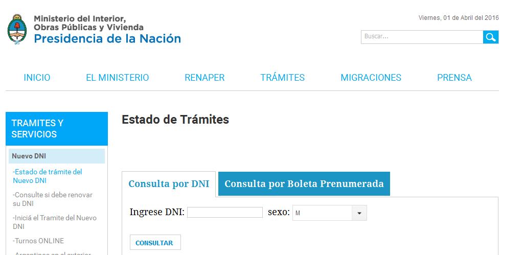 Estado de trámite - Ministerio del Interior, Obras Públicas y Vivienda