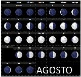 Calendario lunar para Agosto del año 2016 en el hemisferio sur - fases de la luna