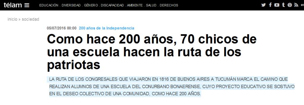 Como hace 200 años, 70 chicos de una escuela hacen la ruta de los patriotas - Télam - Agencia Nacional de Noticias