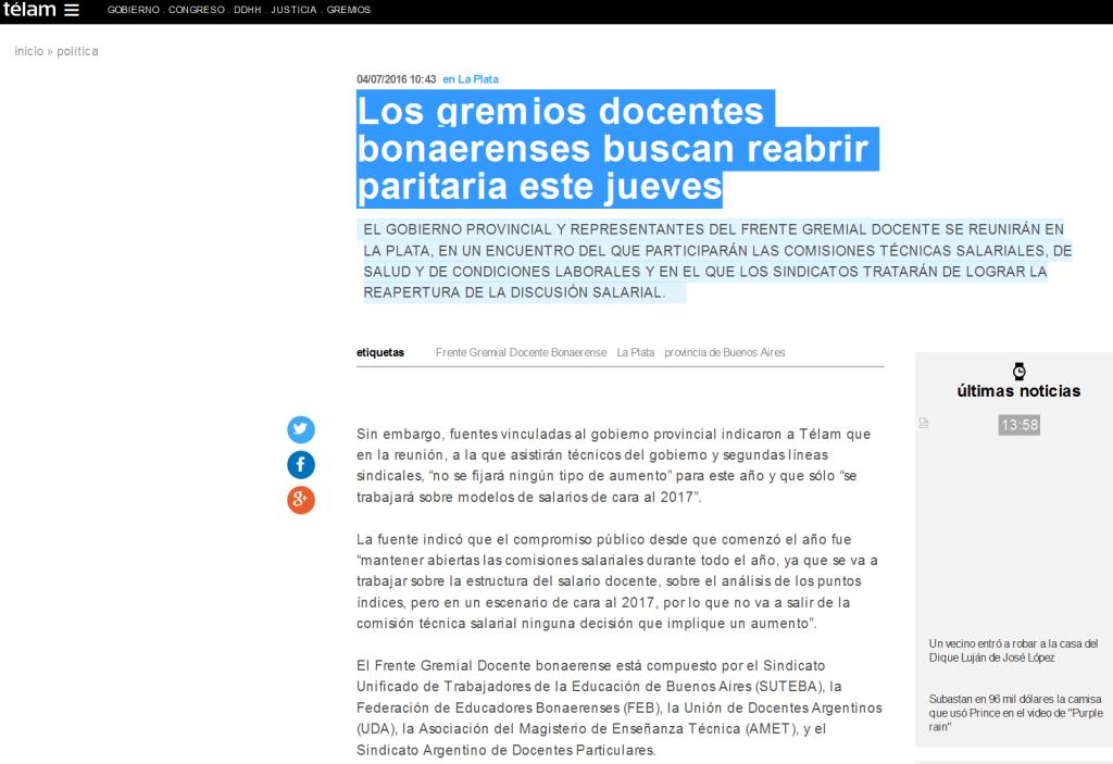Los gremios docentes bonaerenses buscan reabrir paritaria este jueves - Télam - Agencia Nacional de Noticias(1)