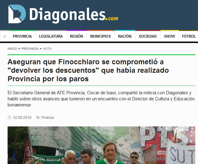 Aseguran que Finocchiaro se comprometió a 'devolver los descuentos' que había realizado Provincia por los paros - Provincia - Diagonales.com