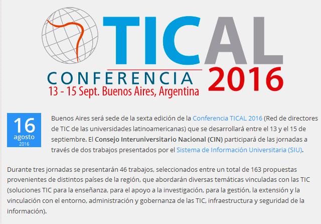 Dos trabajos del CIN en la Conferencia TICAL 2016 - CIN