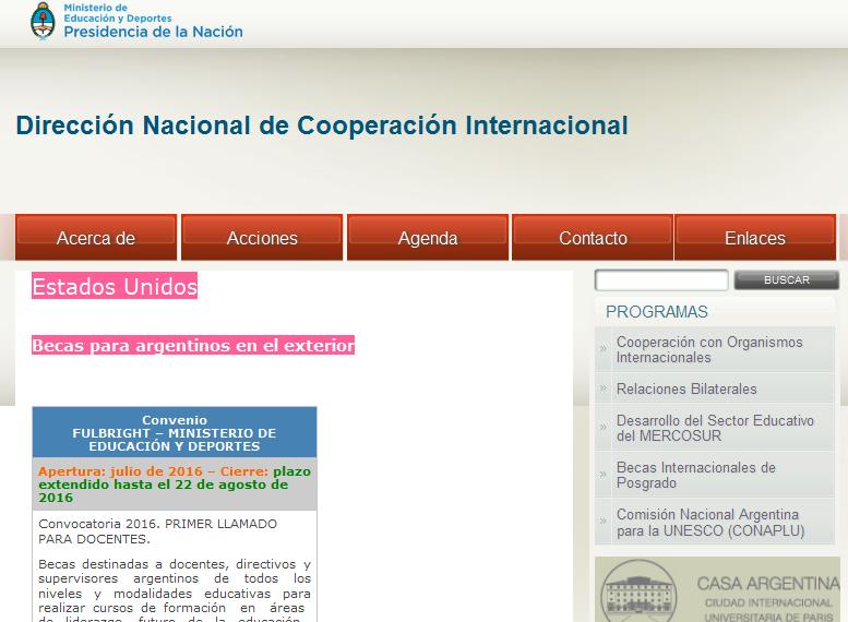 Estados Unidos - Dirección Nacional de Cooperación Internacional