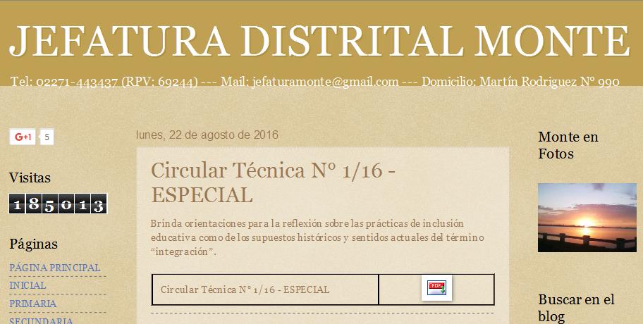 JEFATURA DISTRITAL MONTE Circular Técnica N° 1-16 - ESPECIAL