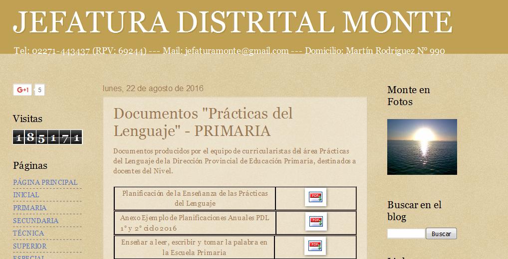 JEFATURA DISTRITAL MONTE Documentos 'Prácticas del Lenguaje' - PRIMARIA
