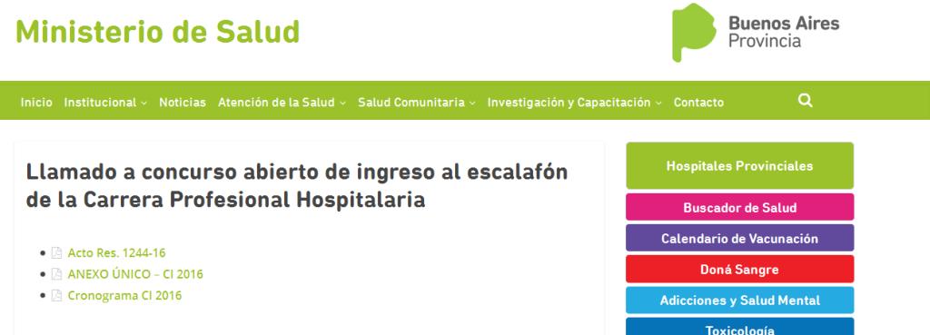 Llamado a concurso abierto de ingreso al escalafón de la Carrera Profesional Hospitalaria – Ministerio de Salud