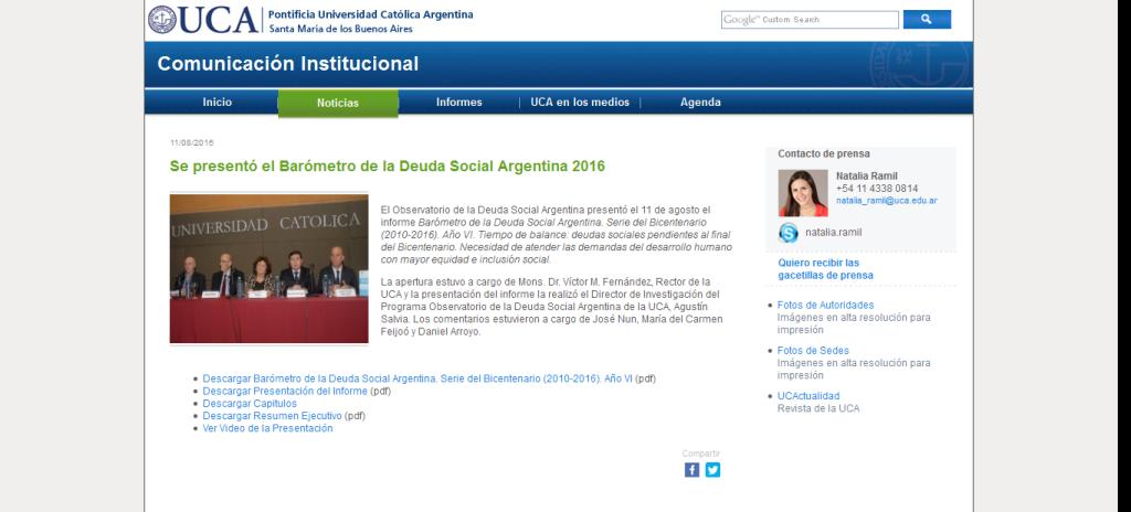 Se presentó el Barómetro de la Deuda Social Argentina 2016 - Agosto - 2016 - Gacetillas de prensa - Comunicación Institucional - UCA Pontificia Universidad Católica Argentina