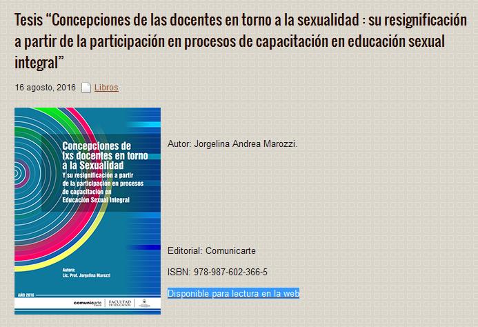 """Tesis """"Concepciones de las docentes en torno a la sexualidad  su resignificación a partir de la participación en procesos de capacitación en educación sexual integral"""""""