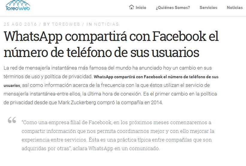 WhatsApp cambia sus políticas de privacidad - ToreoWeb