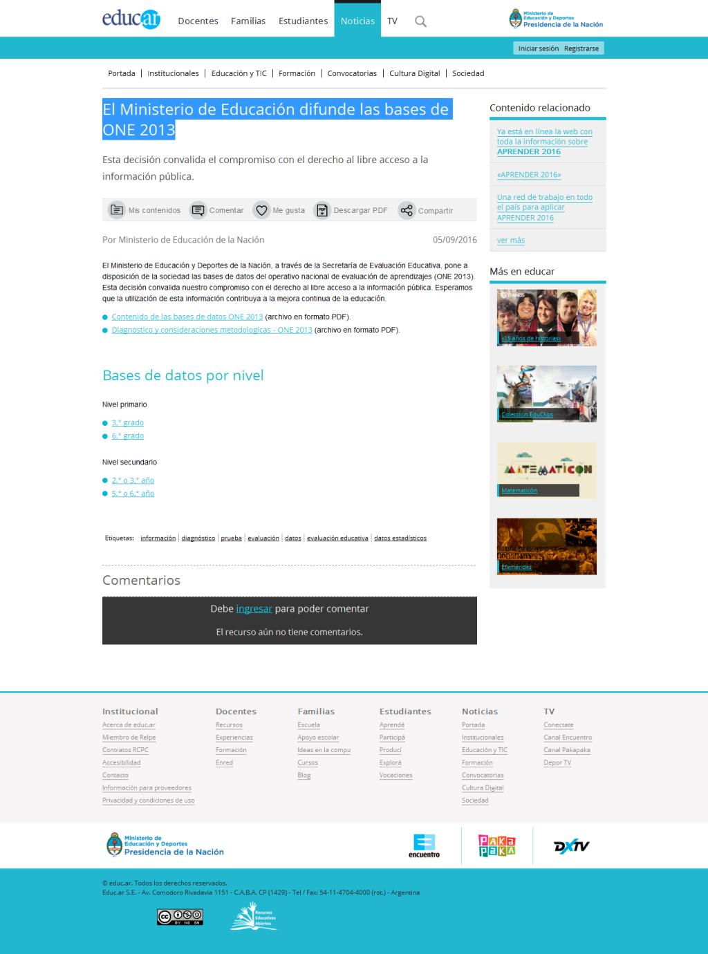 El Ministerio de Educación difunde las bases de ONE 2013 - Noticias educ.ar
