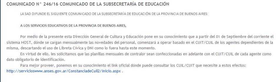 GENERAL RODRIGUEZ COMUNICADO N° 246-16 COMUNICADO DE LA SUBSECRETARÍA DE EDUCACIÓN