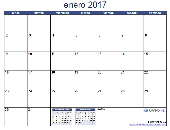 Algunos calendarios 2017 predefinidos para jefaturas - Calendario 2017 para imprimir por meses ...