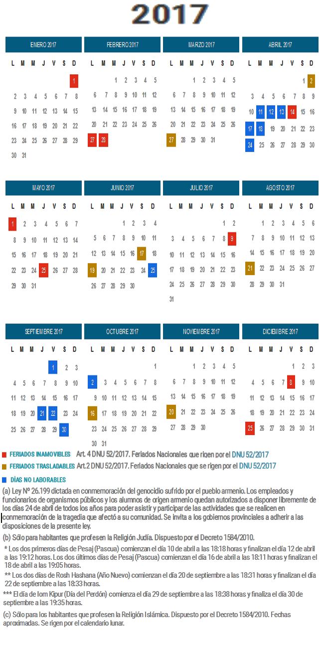 Calendario de argentina 2017 actualizado luego del for Calendario 2015 ministerio del interior