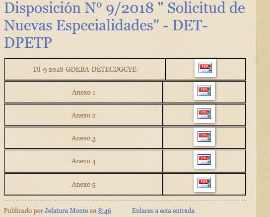 """DGCyE: Disposición N° 9/2018 """" Solicitud de Nuevas Especialidades"""" – DET-DPETP"""